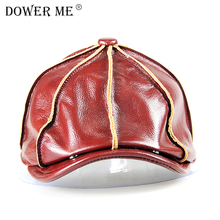 Dower me Genuine Leather Hat Cap The Most Popular Cowhide Warm Winter With Cotton Padding CS08