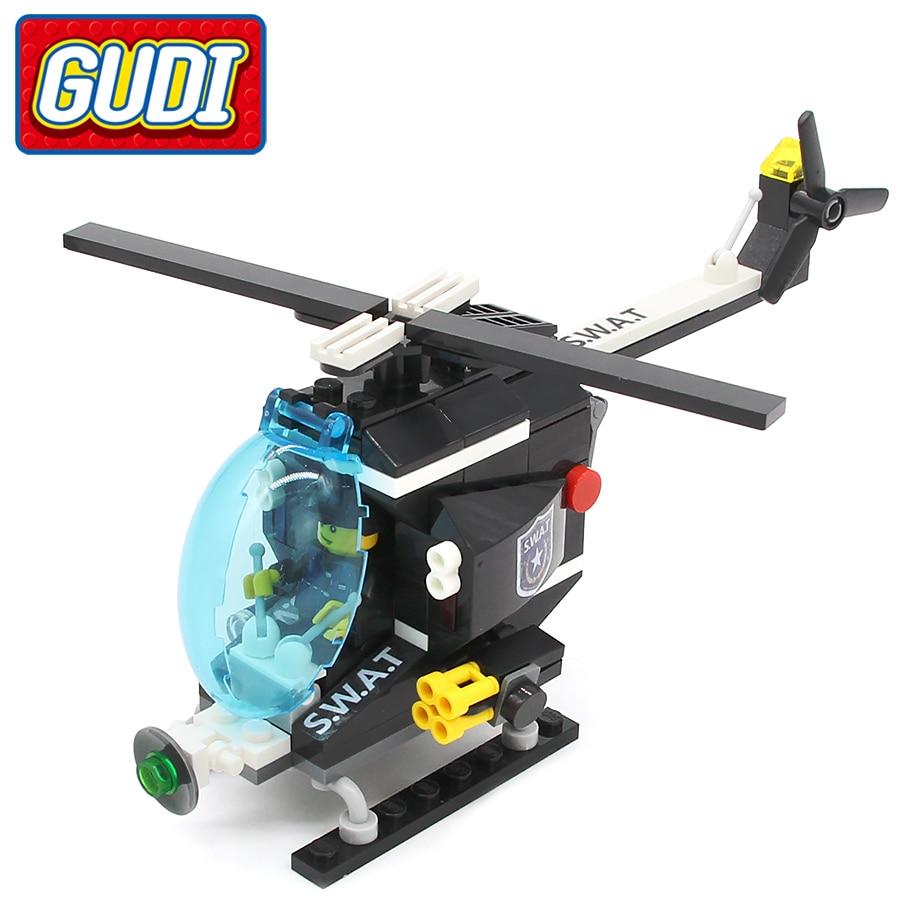 GUDI SWAT Helicopter 127pcs Bricks Building Blocks Sets Models Educational Toys For Children