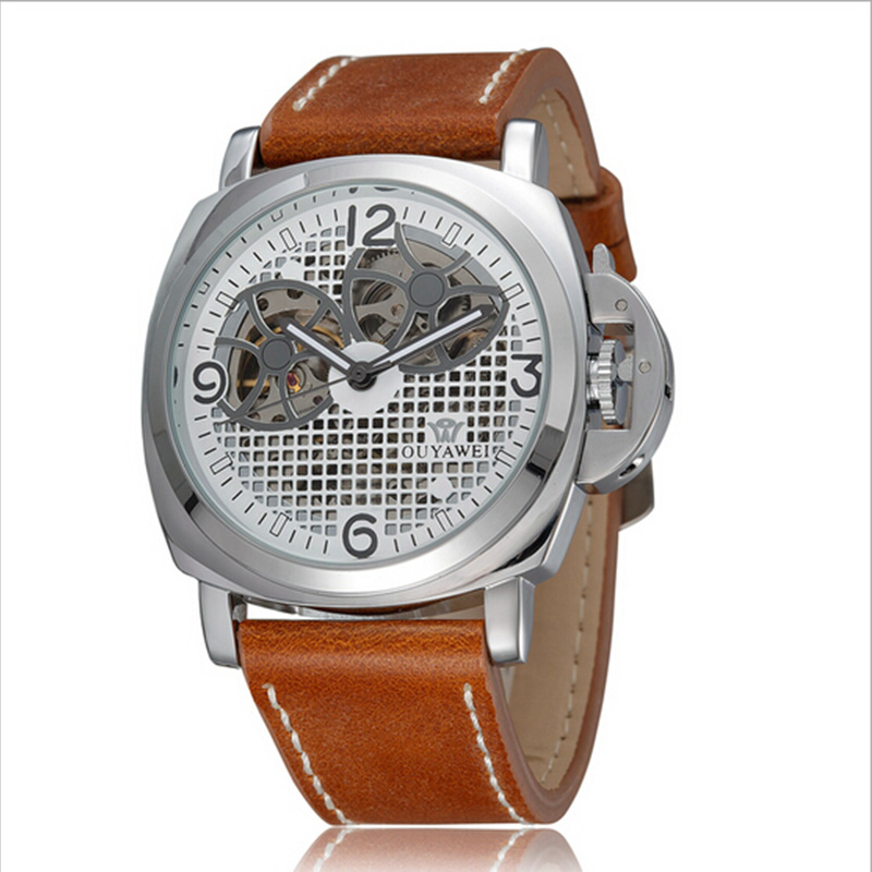Skeleton Mechanical Watches Men Luxury Brand OUYAWEI Genuine Leather Strap Automatic Watch Men Waterproof With Original Box Gift<br><br>Aliexpress