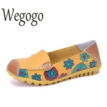 Vintage Women Flats Leather Shoes Moccasins Loafers Girls Breathable Outdoor Cow Muscle Outsole Floral Flat Shoes(China)