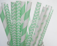 150pcs/lot Mint Green Paper Straws Mixed,Paper Drinking Straws For Wedding Party Birthday Decoration(China)
