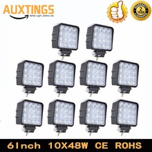 "DISCOUNT 10PCS FREE SHIPPING 6""Inch led work light 48w watt SPOT FLOOD Beam 48w led work lamp led driving light bar for atv(China)"