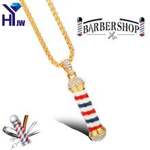 HEYu New Fashion Barber Shop Pole 3D Barber Pole Chain Pendant Necklace Hip Hop Barber Hairdresser Gothic Necklace Jewelry