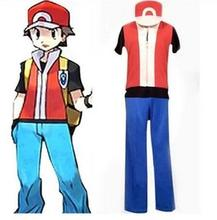 2016 Anime New Hot Pokemon Red Cosplay Halloween Party Clothing Costume - Ash Ketchum Cosplay Outfit & Clothes All Size