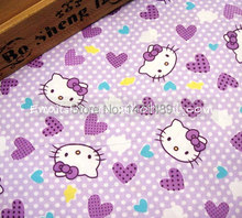 hk608B - 1 Yard Cotton Twill Fabric - Hello Kitty and Heart - Purple (W155)