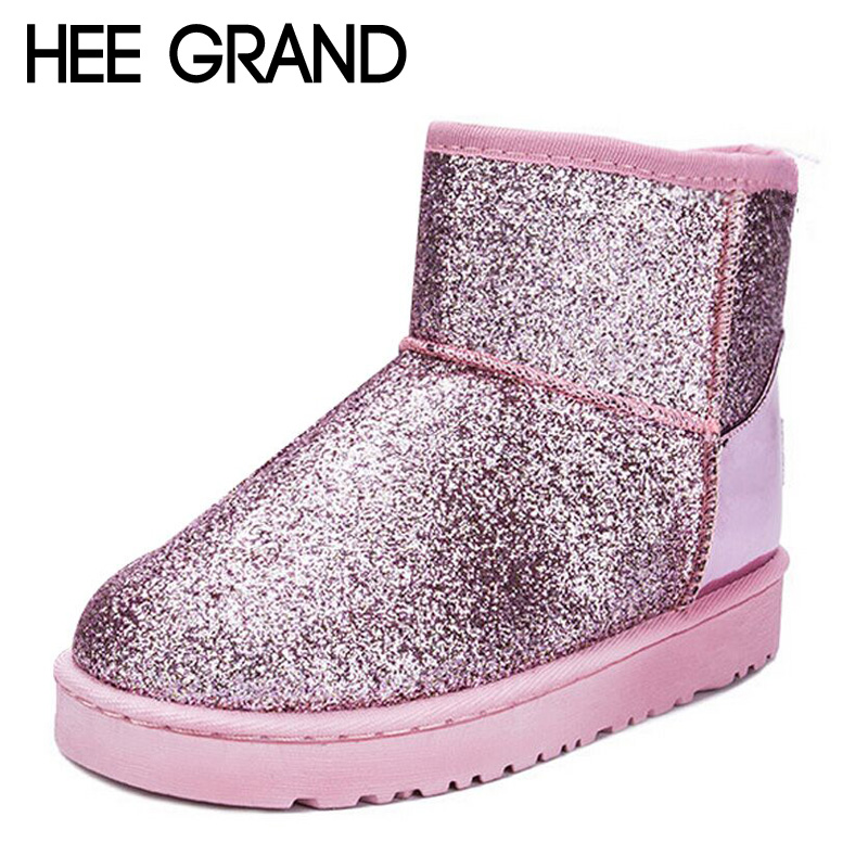 HEE GRAND Bling Glitter Snow Boots Women Thick Fur Warm Flat Platform Cotton Sequined Cloth Ankle Boots Winter Shoes XWX4618<br><br>Aliexpress