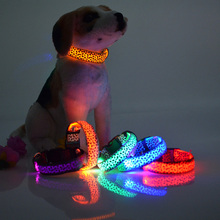 7 Colors Pet Dog Led Collars Pet Leopard Spots Luminous Led Dog Collar Pet Supplies Nylon dog Collar Leash Night Safety Products