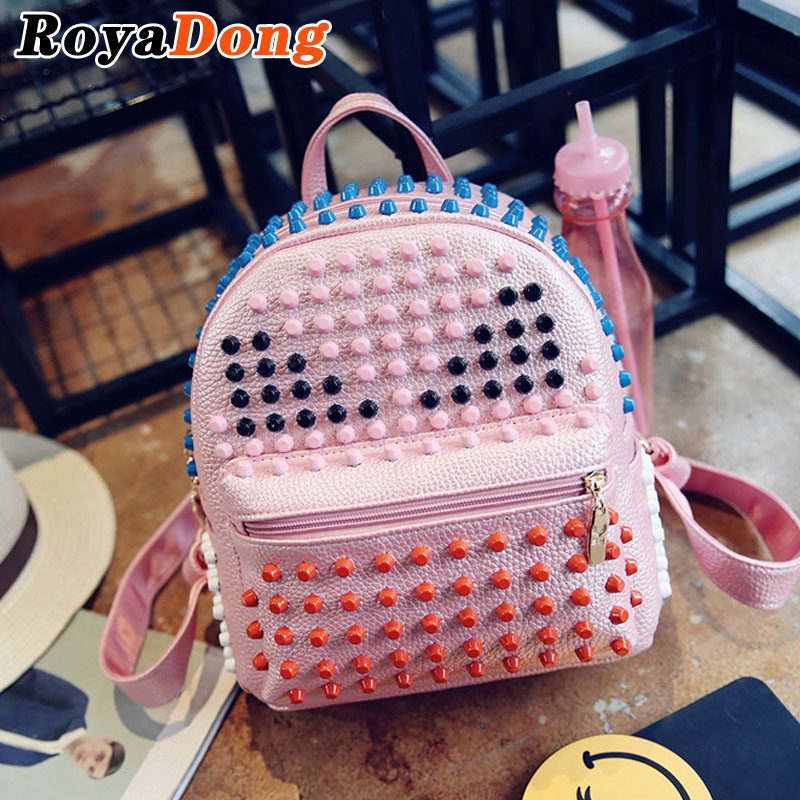 RoyaDong Small Leather Backpack Women School Bags For Teenage Girls PU Rivet Monster Cute Fashion Bagpack 2017 Mochila Sac A Dos<br><br>Aliexpress