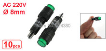 "1 Pack ( 10 Pcs / Lots ) x AC 220V 8mm 0.31"" Green Neon Indicator Pilot Signal Light Round Lamp NXD-215"