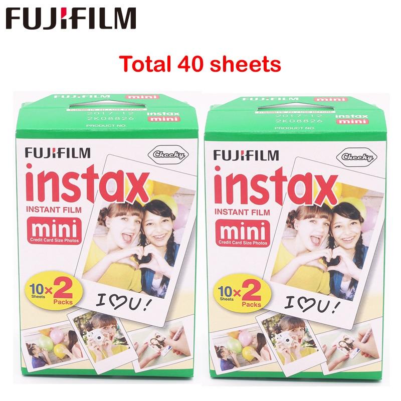 Fuji Fujifilm Instax Mini 8 Film Blanc 2 Packs 40 Sheets Film For 7s 8 90 25 55  Share SP-1 Instant Camera<br>