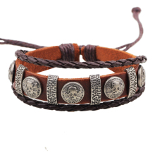 Leather Wrap Bracelet Distress Metal Charm Skull and Bones Bracelet