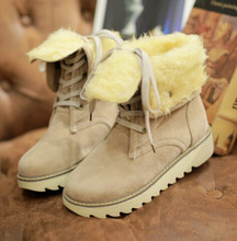 Women Winter snow Boots Thick coat keep warm inside short tube with Martin boots female big yards size34-43(China)