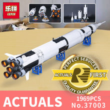 lepin 37003 apollo saturn v compatible with LegoINGlys 21309 vehicle rocket bricks model building kits blocks toy christmas gift(China)