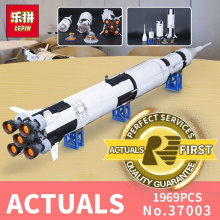 lepin 37003 apollo saturn v compatible LegoINGlys 21309 vehicle rocket bricks model building kits blocks toy christmas gift - Leyouyou Toy Store store