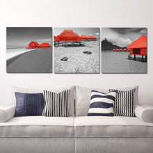 canvas painting wall art  Tropical Beach Red Bungalows House 3 Pieces Paintings Modern Giclee Artwork Seascape Pictures Photo