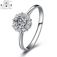 Real 925 Silver Luxury Micro Inlays Clear Cubic Zirconia Wedding & Engagement Rings For Woman Female Young Office Lady