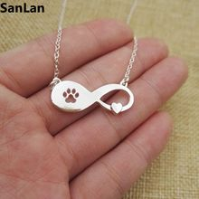 3pcs Lovely Fashion cat pets Jewelry Dog Paw Print on Infinity heart necklace Women Girl Best Friend Gift SanLan
