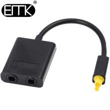 EMK 1 to 2 Digital SPDIF Optical Audio Splitter 2 Way Toslink Splitter Adapter 1 input 2 Output SPDIF Optical Cable Splitter Hub