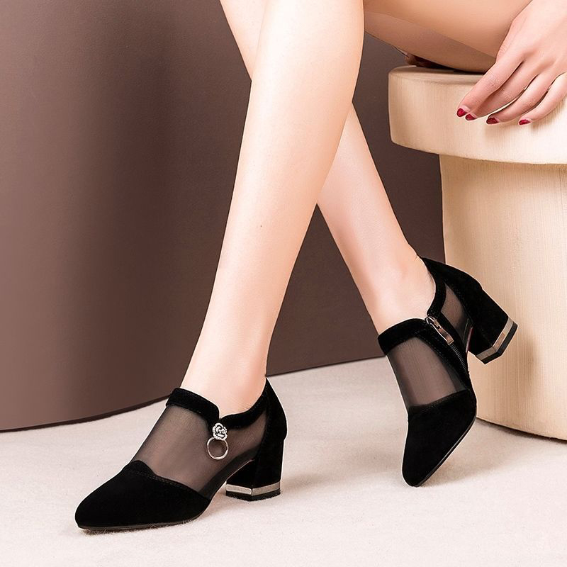High-Heel Shoes Footwear Pumps Mesh Pointed-Toe Elegant Female Fashion Women Summer Zip title=