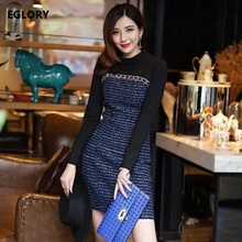 Long Sleeve Dress New 2017 Winter High Street Fashion Ladies Clothing Korean Style Cotton Tweed Wool Patchwork Casual Day Dress