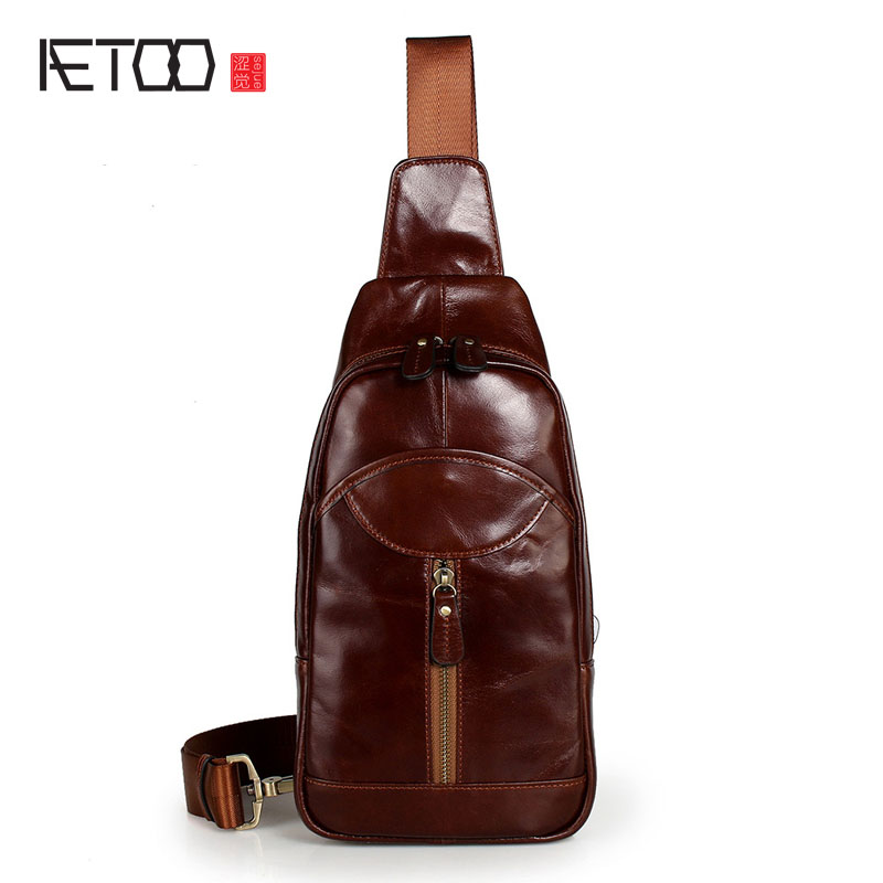 AETOO New real leather male chest packs head layer of leather twisted pockets of mens  shoulder bag casual bag men<br>