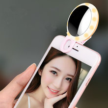 Luminous Selfie Ring Mirror Case Universal For iPhone 7 4S 5 5S 6 6S Plus Samsung S6 S7 S8 LG G5 Portable LED Flash UP Light(China)