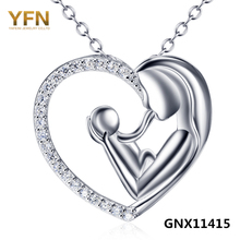 GNX11415 Genuine 925 Sterling Silver Jewelry Crystal Heart Pendant Necklace Wholesale Mother and Child Jewelry Love Necklace