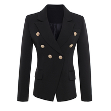 HIGH QUALITY New Fashion 2017 Runway Style Women's Gold Buttons Double Breasted Blazer Outerwear size S-XXL(China)