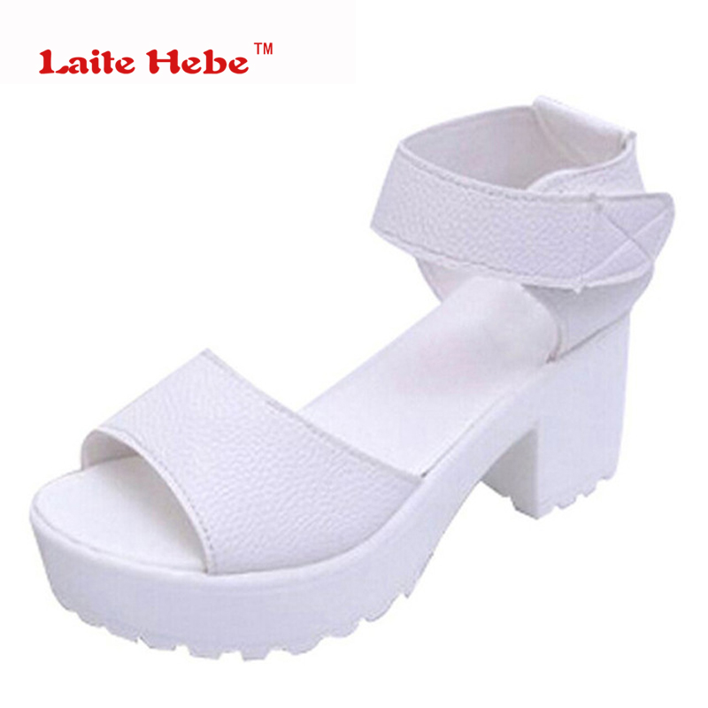 Laite Hebe   2017 New Summer Pep-toe Woman Sandals Platform Thick Heel Summer Women Shoes Hook &amp; Loop All Match Shoes For Ladies<br><br>Aliexpress