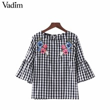 Vadim women sweet flower embroidery plaid shirts flare sleeve o neck checked blouse side split ladies brand tops blusas LT1854