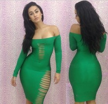 Free ship!2016  fashion cut out strapless Bandage Bodycon Dresses empire waist sexy women evening clubwear party clothing
