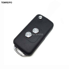 TEMREIPO 2 Button Remote Folding Flip Key Case For Peugeot 206 For citroen c3 c2 Remote Control Key Blank fob selling