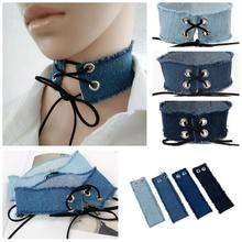 Gothic Lace Up Choker Blue Denim Choker Necklace for Women Punk Jewelry Harajuku Big Chunky Jean Necklace Collier Chokers 3810