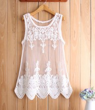 New Women Summer Mesh Lace Embroidery Flowers Dress Loose Hollow Perspective Sleeveless Mini Dress Black/White