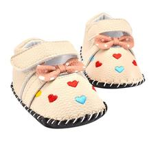 Love Embroidered Baby Girls Shoes Bowknot Soft Sole Toddler Shoes Newborn First Walkers Crib Shoes baby slofjes Krystal