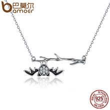 BAMOER 925 Sterling Silver Fantasy Bat on Branch Clear Women Pendant Necklaces Sterling Silver Jewelry Halloween Gift SCN102(China)