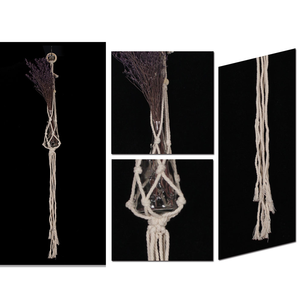 Small Handmade Macrame Wall Art Cotton Thread Wall Hanging Tapestry Bohemian Rope Pots Holder Hemp Rope Net Wall Decorations 17