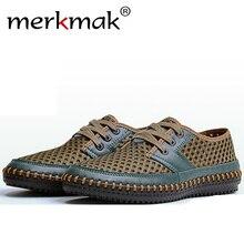 Merkmak Vintage Casual Men Loafer Shoes Luxury Brand Summer Beach Leather Breathable Hole Men Flat Plus Big Size Shoes Drop Ship