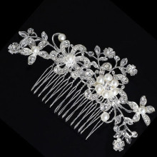 TREAZY Bridal Wedding Flower Crystal Rhinestones Diamante Simulated Pearls Women Hair Clip Hair Comb Hair Accesories(China)