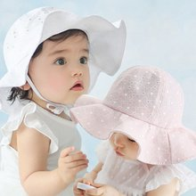 Infant Visor Cotton Sun Cap Floral Print Summer Outdoor Baby Girl Pink White Beach Bucket Fashion Hats
