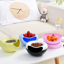 Multifunctional Plastic Double Layer Dry Fruit Containers Snacks Seeds Storage Box Garbage Holder Plate Dish Organizer