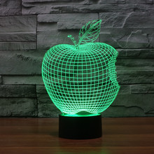 apple 7 colour three-dimensional LED light discoloration 3D Touch Control light LED night light USB Desk Lamp free shipping(China)
