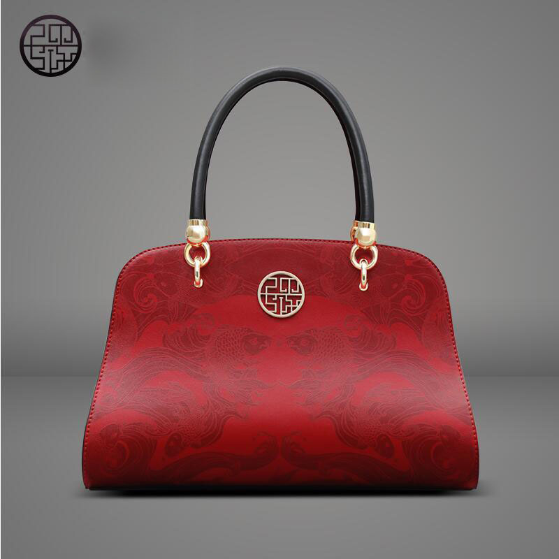 Pmsix2017 new fashion Chinese leather cowhide female bag red large bag dinner portable shoulder bag large package more than ever<br><br>Aliexpress
