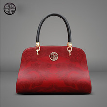 Pmsix2017 new fashion Chinese leather cowhide female bag red large bag dinner portable shoulder bag large package more than ever(China)