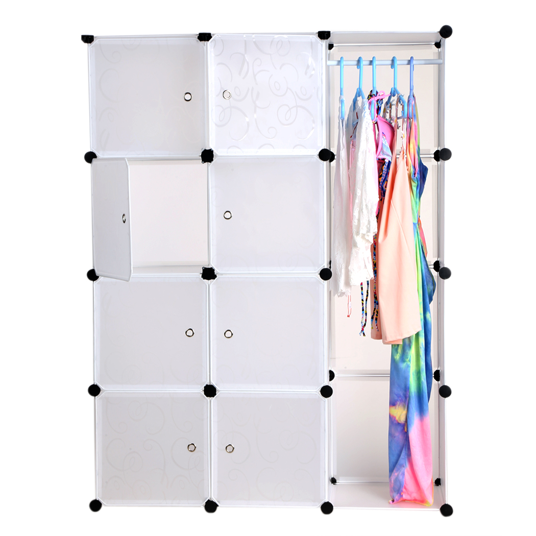 12 Shelves PP Material DIY Folding Combination Closet Portable Storage Organizer Wardrobe Clothes Rack White#3020<br>