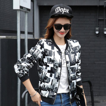 2017 Women Spring Autumn Jackets Short Tops Long Sleeve Lady Floral Print Coat Woman Black Jacket Baseball Uniform
