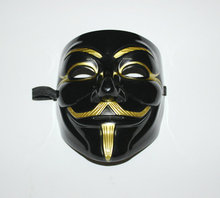 Black V Mask Adult Mens Anonymous Halloween Vendetta Movie Black Costume Masks Guy Fawkes Anonymous Halloween Party Cosplay