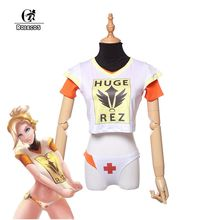 ROLECOS Game PlayWatch Overpog Magazine Cover Cosplay Costumes D.Va Mercy Angela Ziegler Cosplay Costumes T-Shirt Full Set(China)