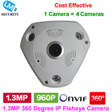 Onvif 960P Fisheye 360 degree wide angle Dome IP Camera 1.3MP HD IP Plastic Dome Camera Network IP cam with Cloud software
