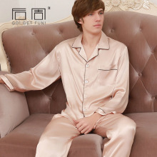 2017 Fashion Mens Silk Pajamas Set Sexy Couple Man Sleepwear High Quality Satin Pyjamas for Men Home Clothes Fits All Seasons(China)